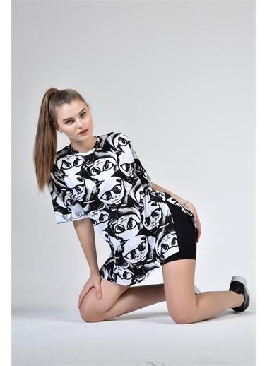 Rodi Jeans Kadın Gözlüklü Panda Baskılı Oversize T-Shirt DS21YB274273 Siyah